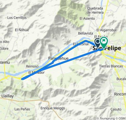 De Ruta 60 CH, Panquehue a Avenida Maipú 382, San Felipe