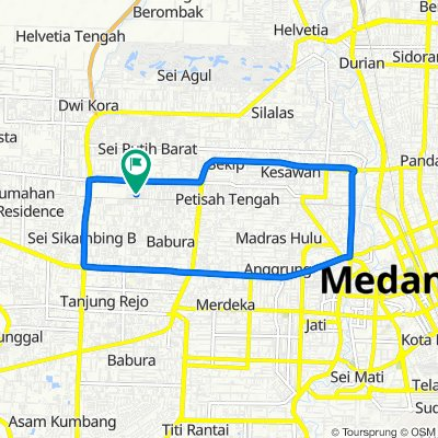 Jalan Piazza No. 22, Medan Sunggal to Jalan Piazza No. 13, Medan Sunggal
