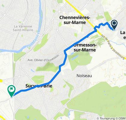 De 17 Allée du Gros Chêne, La Queue-en-Brie à 3 Chemin Vert, Sucy-en-Brie