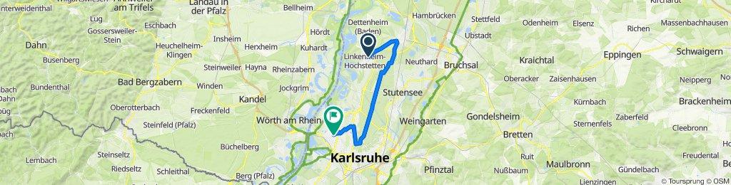 Hebelstraße 8, Linkenheim-Hochstetten nach Ferdinand-Keller-Straße 25, Karlsruhe
