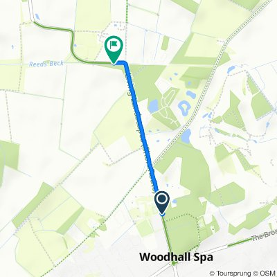 Route from 39 Stixwould Road, Woodhall Spa