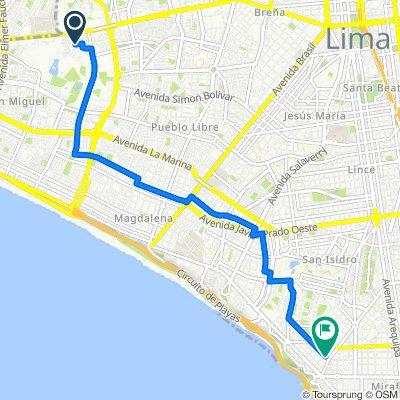 De Avenida Los Eucaliptos 298, San Miguel a Avenida General Córdova 168, Miraflores