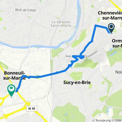De 15 Rue Gabrielle de Santeny, Ormesson-sur-Marne à 4 Mail de la Résistance, Bonneuil-sur-Marne