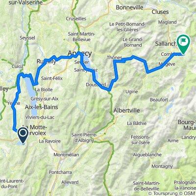 De D921D, Aiguebelette-le-Lac à Rue du Mont Blanc 37, Saint-Gervais-les-Bains