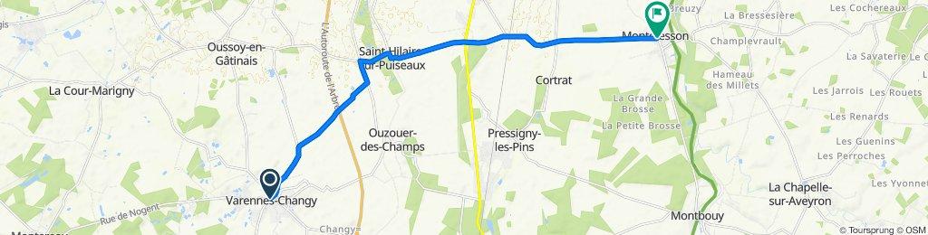 De 7 Place Duchesse de Dalmatie, Varennes-Changy à 2–4 Route de Solterre, Montcresson