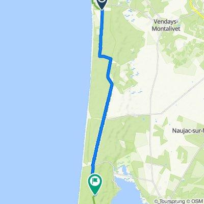 De Avenue de l'Europe, Vendays-Montalivet à Route des Phares, Hourtin