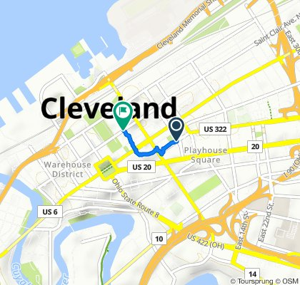 1171–1199 Chester Ave, Cleveland to 1325 E Sixth St, Cleveland