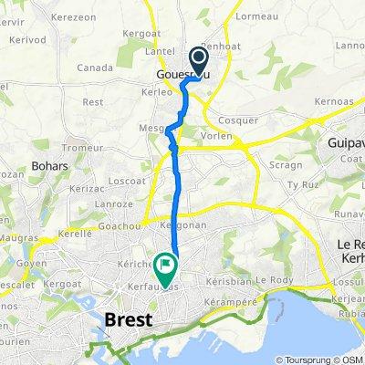 De 1 Rue des Blés d'Or, Gouesnou à 18 Rue Solférino, Brest