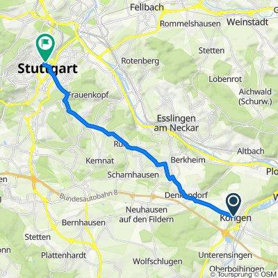 Weg von Köngen nach Stuttgart, Hauptbahnhof (tief)