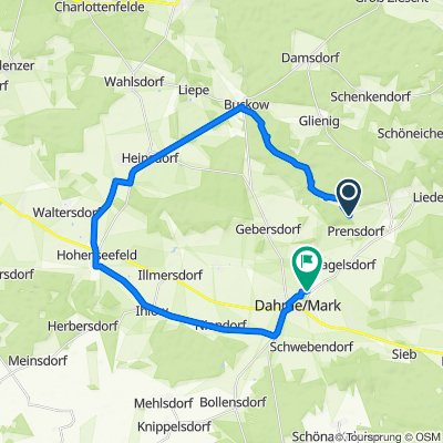 Prensdorf 34, Dahmetal nach Quellweg 1, Dahme/Mark