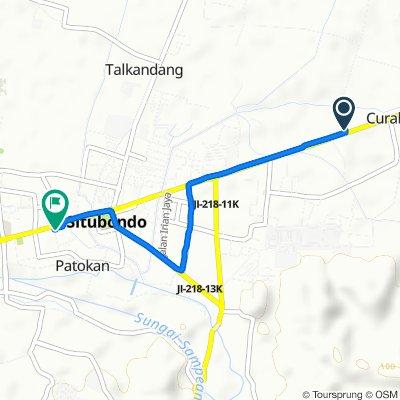 Curahjeru Timur, Kecamatan Panji to Jalan Pb. Sudirman 1, Kecamatan Situbondo