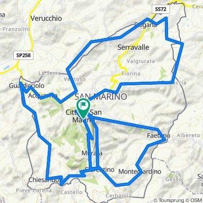 Piazzetta del Placito Feretrano 3, Città di San Marino nach Piazzale Lo Stradone 2, San Marino di Urbino