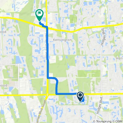Route from 13321 Stone Pond Dr, Jacksonville