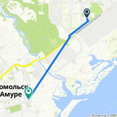 От Братский переулок 6/2, Комсомольск-на-Амуре до Молодежная улица 8, Комсомольск-на-Амуре