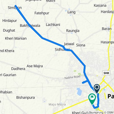 Route from NH 7, Patiala