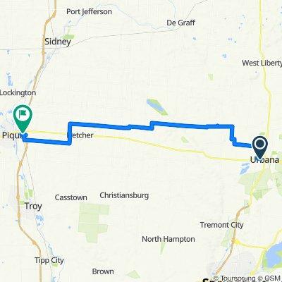 urbana ohio to piqua ohio via ohio-indiana route