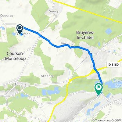 Route from 1 Château de Courson, Courson-Monteloup