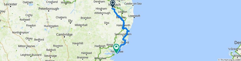 74 mile Norwich to Felixstowe