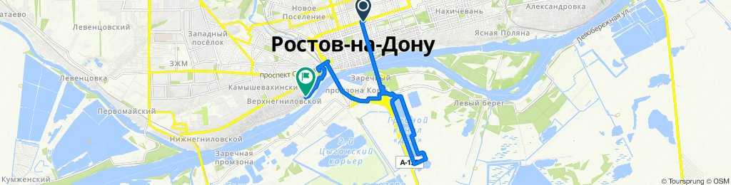 От Красноармейская улица 176а, Ростов-на-Дону до улица Амбулаторная 95, Ростов-на-Дону