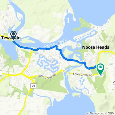 Route from 7–9 Lake Street, Tewantin