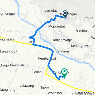 Jalan Raya Kandangan 28, Kecamatan Krembung to Unnamed Road, Kecamatan Ngoro