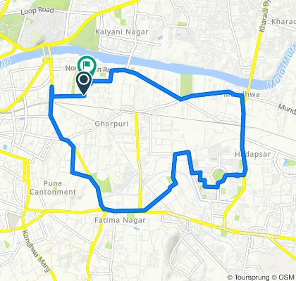 Koregaon Park, to Race Course, To Magarapatta, to Hadapsar to Koregaon Park