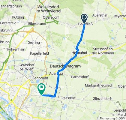 Hauptstraße 51, Bockfließ nach Breitenleer Straße 273–293, Wien