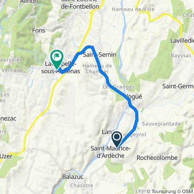De 35 Chemin de Mioulas, Saint-Maurice-d'Ardèche à 1 Rue des Moulinages, Lachapelle-sous-Aubenas