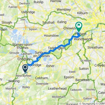 2 Broomfield Road, Addlestone to 1–23 Branksea St, London