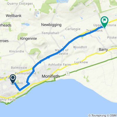 Route from 6 Sunart Place, Dundee