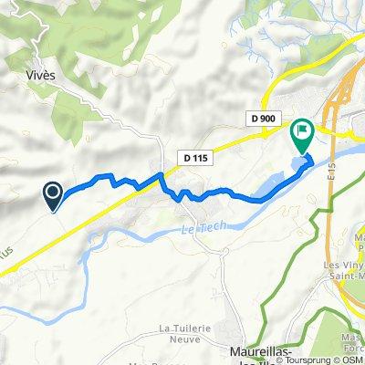 Itinéraire à partir de Chemin Communal d'Aubiry, Céret
