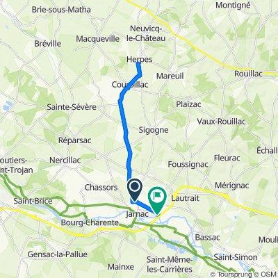 Itinéraire à partir de Rue de Barbezieux 15, Jarnac