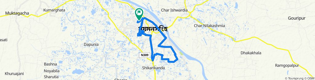 Route to South A Sarker Road, Mymensingh