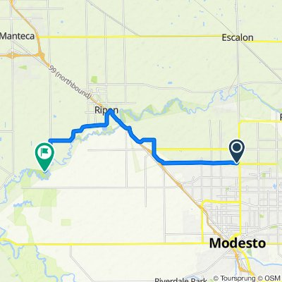 Route from 312 Motor City Ct, Modesto
