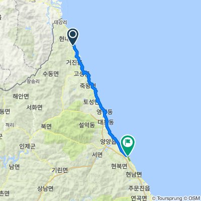 Route from Hyeonnae-myeon 127-1, Goseong-gun