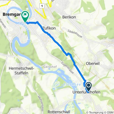 Route from Berghofstrasse 7A, Unterlunkhofen