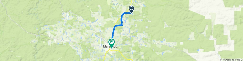 Route to 46–64 O'Connor Street, Manjimup