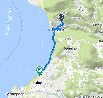 Via Europa Unita 38, Colmegna nach Via Piero Chiara 9, Luino
