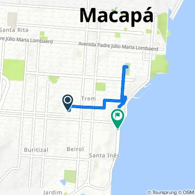 De Avenida Felipe Camarão, 1084, Macapá a Rua André de Oliveira Costa, 383–481, Macapá