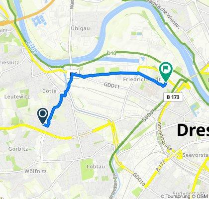 Zöllmener Straße 35, Dresden nach Friedrichstraße 34, Dresden