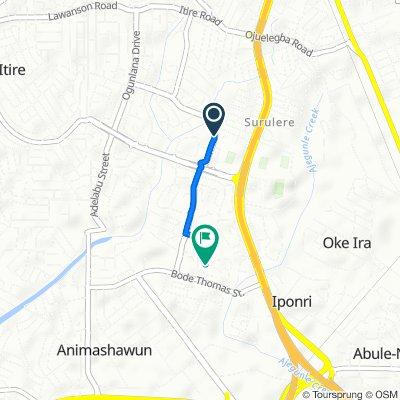 Akerele Street 172, Lagos to Ishau Adewale Street 12, Lagos