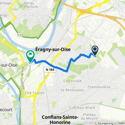 De Allée du Stade 11, Éragny à Gare de Neuville–Université, Neuville-sur-Oise