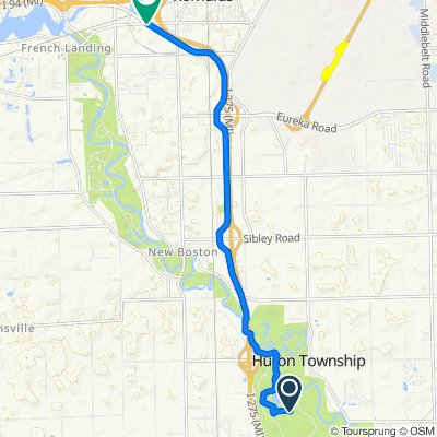 Route to 38401–38507 W Huron River Dr, Romulus