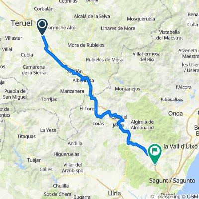 De Unnamed Road, La Puebla de Valverde a Vias Verdes de Ojos Negros I, Algimia de Alfara