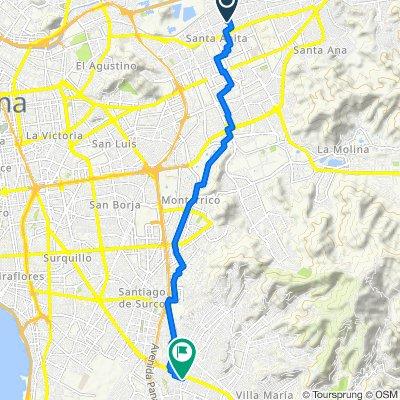 De Jiron Vilcabamba 26, Cercado de Lima a Avenida San Juan 1113, San Juan de Miraflores