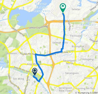 Route to 1 The Oval, Seletar