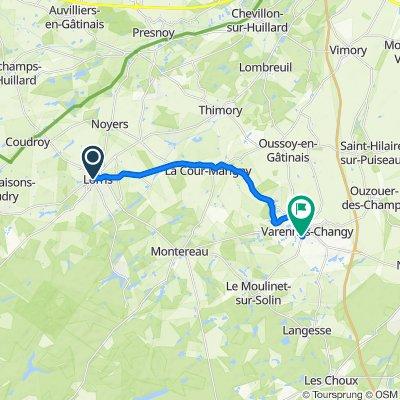 De 4 Place du Martroi, Lorris à 27bis Rue du Moulinet, Varennes-Changy