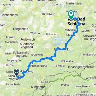 Mulderadweg - Abschnitt Schöneck/Vogtland bis Aue (Zwickauer Mulde)