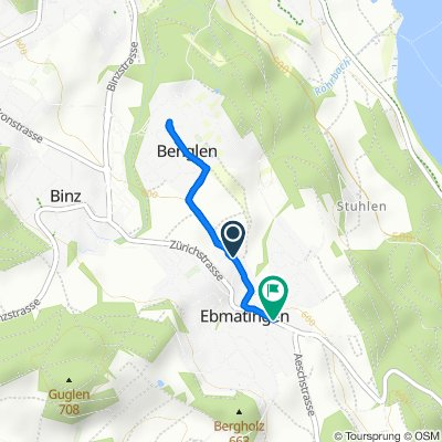 Bachtobelstrasse 18, Ebmatingen to Zürichstrasse 108, Ebmatingen