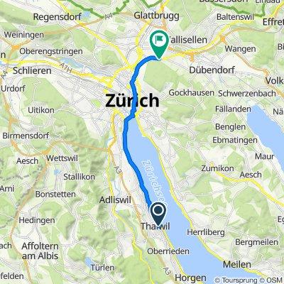 Farbstrasse 1, Thalwil nach Ahornstrasse 21, Zürich